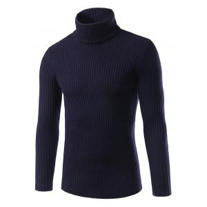 Turtle Neck Slimming Vertical Stripe Long Sleeve Sweater