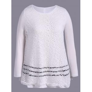Plus Size Long Sleeve Lace T-Shirt