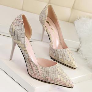 Stiletto Heel Woven Pattern Pointed Toe Pumps - Shallow Pink - 39
