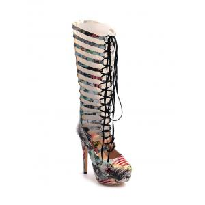 Hollow Out Tie Up Building Print Boots - Colormix - 39
