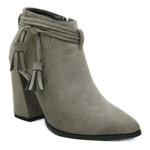 Tassels Stitching Side Zip Boots - Gray - 38