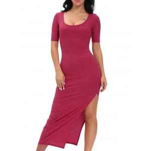 Scoop Neck Side Slit Jersey Maxi Dress - Wine Red - M