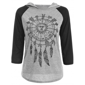 Hooded Raglan Sleeve Printed T-Shirt