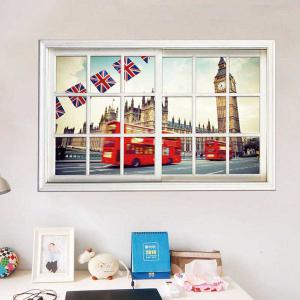 Removable 3D Stereo Britain Streetscape Window Design Wall Stickers - White - S