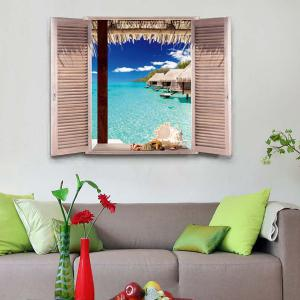 Removable 3D Stereo Seascape Window Design Wall Stickers - Ocean Blue - 60*90cm