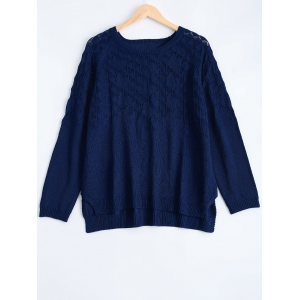Textured Side Slit Asymmetric Sweater - Deep Blue - 4xl