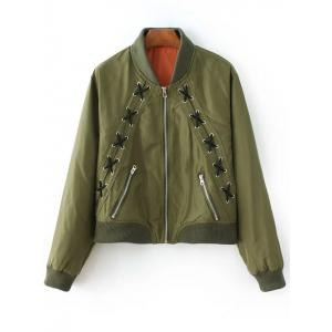 Lacing Bomber Jacket - Army Green - S