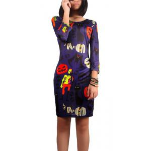 Halloween Pumpkin and Zombie Print Dress - Deep Purple - Xl