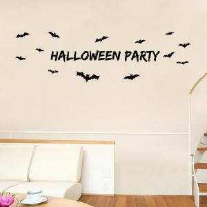 Halloween Party Letter Bat Design Living Room Wall Sticker -
