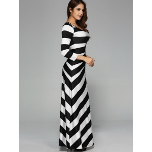 Striped Fitted Long Sleeve Maxi Dress - WHITE/BLACK XL