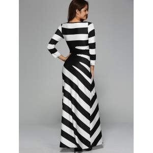 Maxi Striped Cocktail Party Dress with Sleeves - WHITE AND BLACK XL