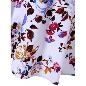 Surplice Floral Swing Dress - WHITE L