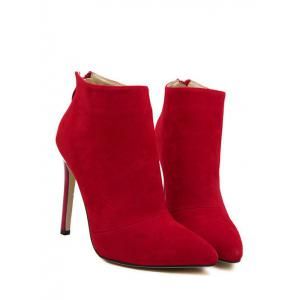 Pointed Toe Stiletto Heel Ankle Boots - RED 37