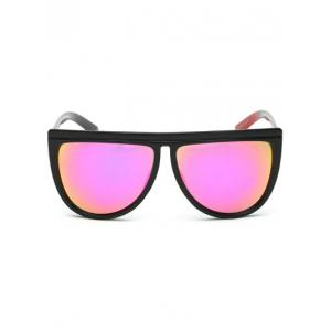 Streetwear Color Block Leg Oversized Mirrored Sunglasses -