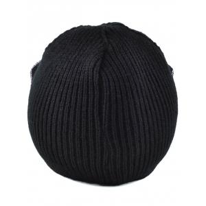 Casual Moon Patched Knit Cat Ear Hat -