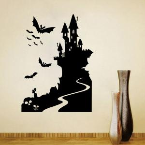 Removable Bat Castle Decorative Halloween Wall Sticker -