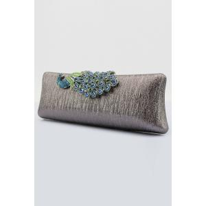 Peacock Embellished PU Evening Clutch - GRAY