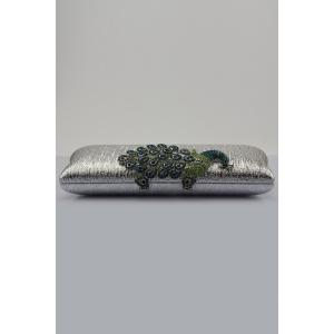 Peacock Embellished PU Evening Clutch -