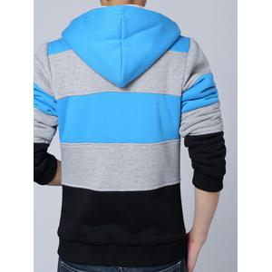 Zip Up Color Spliced Sherpa Hoodie -