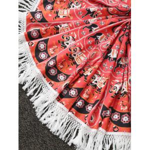 Tassels Print Beach Throw - RED ONE SIZE