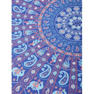 Elephants Printed Beach Throw - BLUE ONE SIZE