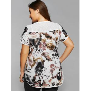 Plus Size Ink Painting Print Spliced Asymmetrical T-Shirt -