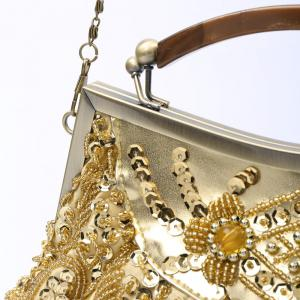 Party Elegant Beaded and Sequins Design Women's Evening Bag - GOLD