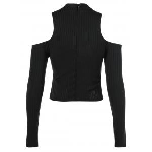 Back Zipper Cut Out Pullover Sweater - BLACK ONE SIZE