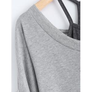 Stylish Scoop Neck Half Sleeve Hollow Out Front Lace-Up T-Shirt + Solid Color Tank Top Women's Twinset - GRAY S