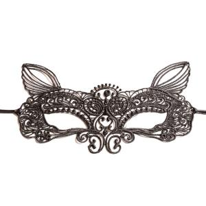 Faux Lace Fox Hollow Out Party Mask - BLACK