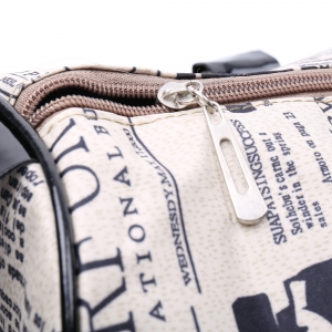 Casual Zipper Design and Newspaper Printing Handbag/Slanting Bag For Female -