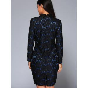 Long Sleeve Collared Lace Pencil Dress - BLUE 3XL