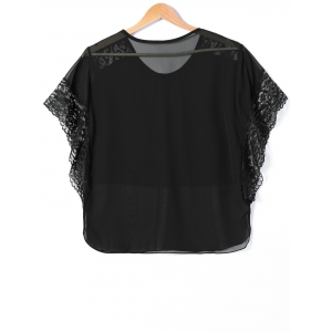 Lace Bat Sleeve Chiffon Tee -
