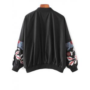 Floral Stand Neck Bomber Jacket - BLACK M