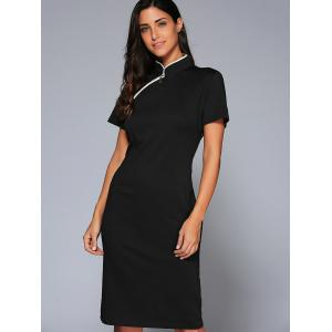Mandarin Collar Midi Vintage Sheath Dress - BLACK 2XL