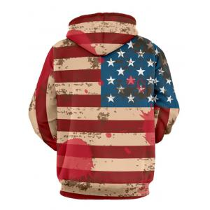 Distressed American Flag Drawstring Pullover Hoodie - RED 3XL