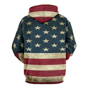 Color Spliced Star Print Striped Pullover Hoodie - DEEP BLUE 3XL