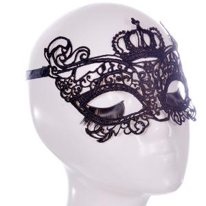 Faux Lace Crown Rose Party Mask - BLACK