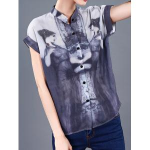 Buttoned Girl Pattern Ink Painting Blouse -