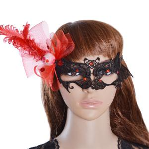 Masque Floral Bat Party Feather bowknot - Noir