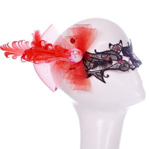 Floral Bat Bowknot Feather Party Mask - BLACK