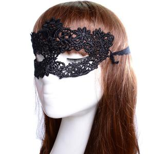 Faux Lace Flower Hollow Out Party Mask - BLACK