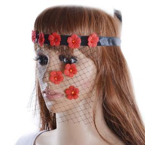 Faux Ruby Floral Hair Accessory Party Mask -