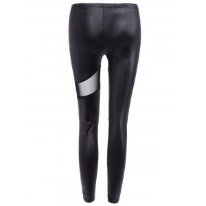 Hollow Out Ninth Faux Leather Pants - BLACK ONE SIZE