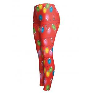 Christmas Ornate Printed Stretchy Leggings - RED XL