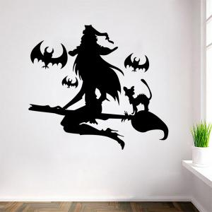 Removable Witch Pattern Halloween Wall Sticker - BLACK