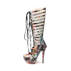 Hollow Out Tie Up Building Print Boots - COLORMIX 39