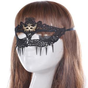 Faux Lace Crown Hair Accessory Party Mask - BLACK