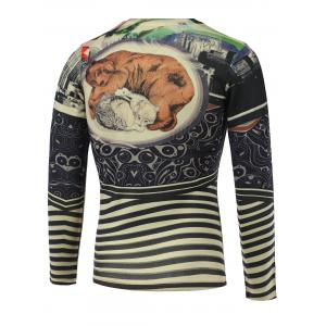 3D Animal and Stripe Print V-Neck Long Sleeve Sweater -