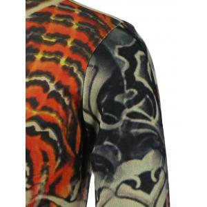 3D Tiger Printed V-Neck Long Sleeve Sweater - COLORMIX 3XL